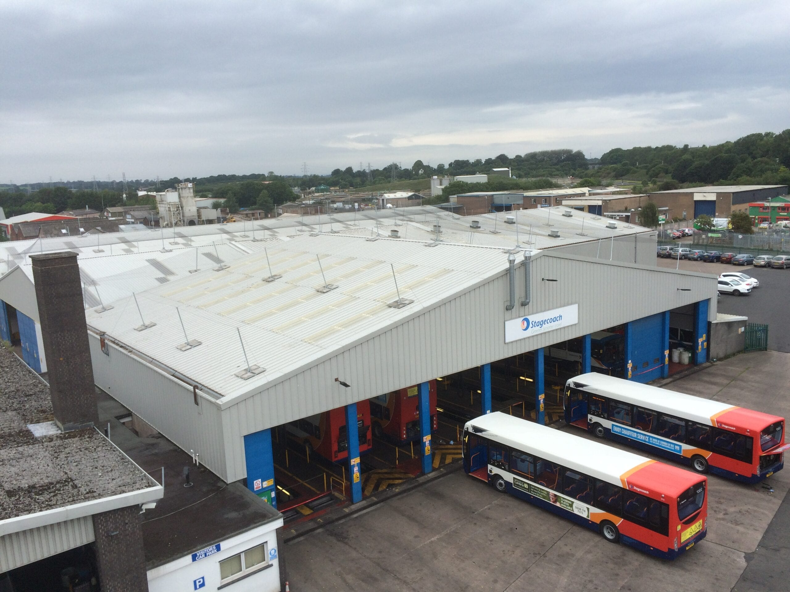 Roof netting installed on the top of a bus depot.